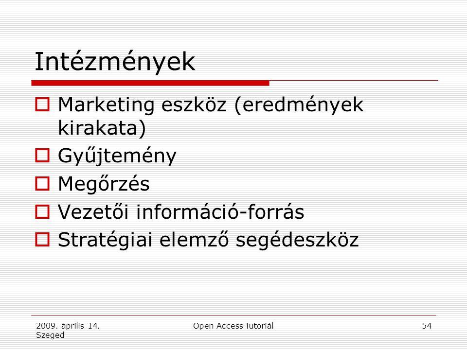 2009. április 14. Szeged Open Access Tutoriál54 Intézmények  Marketing eszköz (eredmények kirakata)  Gyűjtemény  Megőrzés  Vezetői információ-forr
