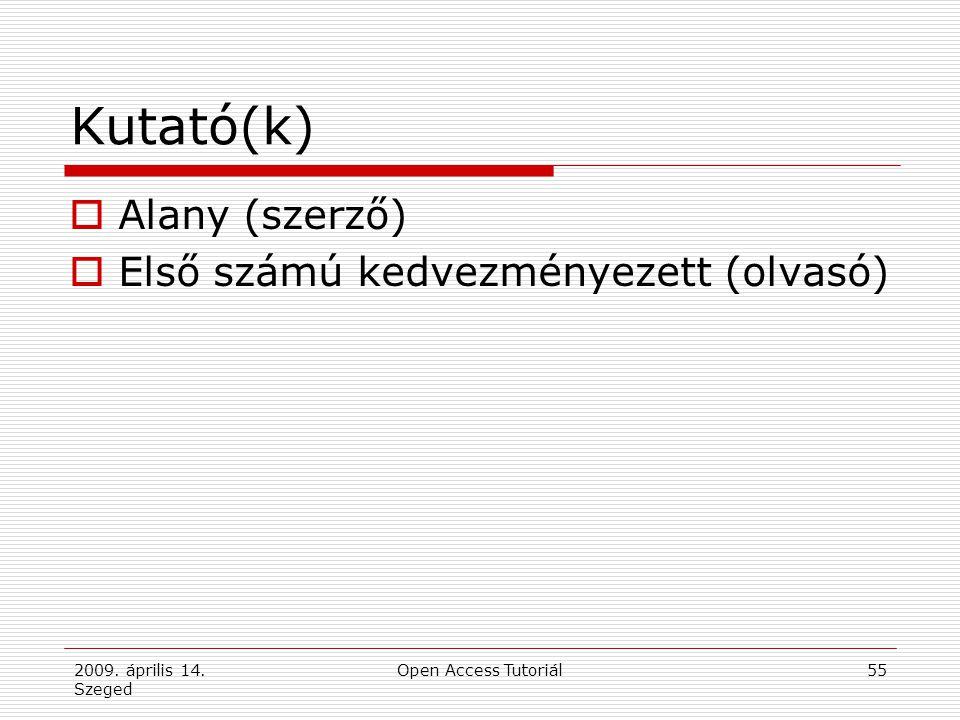 2009. április 14. Szeged Open Access Tutoriál55 Kutató(k)  Alany (szerző)  Első számú kedvezményezett (olvasó)