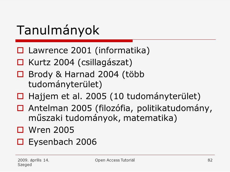 2009. április 14. Szeged Open Access Tutoriál82 Tanulmányok  Lawrence 2001 (informatika)  Kurtz 2004 (csillagászat)  Brody & Harnad 2004 (több tudo