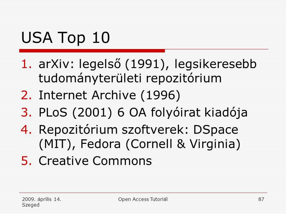 2009. április 14. Szeged Open Access Tutoriál87 USA Top 10 1.arXiv: legelső (1991), legsikeresebb tudományterületi repozitórium 2.Internet Archive (19
