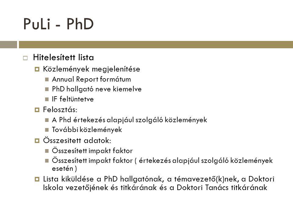 PuLi - PhD  Hitelesített lista  Közlemények megjelenítése Annual Report formátum PhD hallgató neve kiemelve IF feltüntetve  Felosztás: A Phd érteke