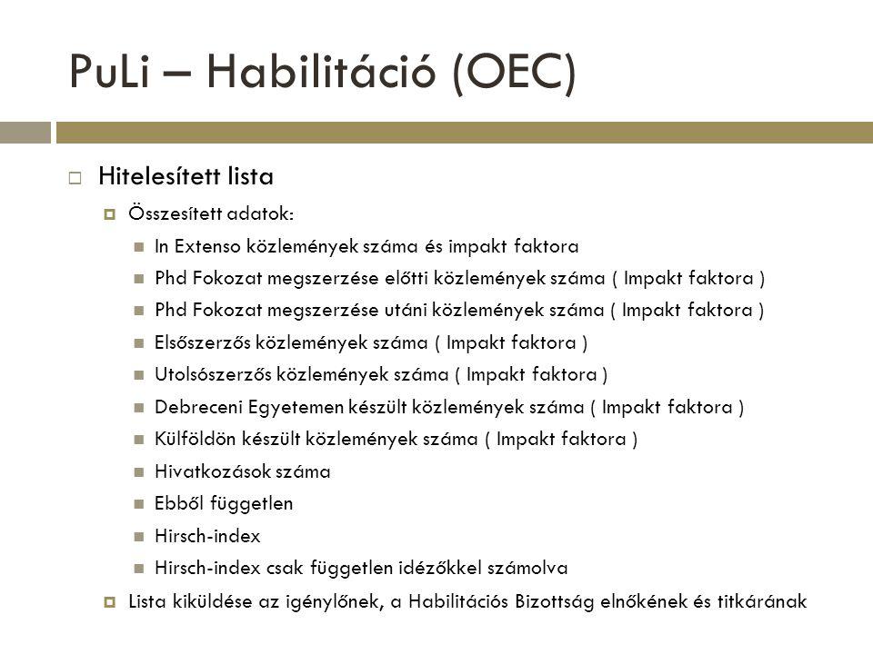 PuLi – Habilitáció (OEC)  Hitelesített lista  Összesített adatok: In Extenso közlemények száma és impakt faktora Phd Fokozat megszerzése előtti közl