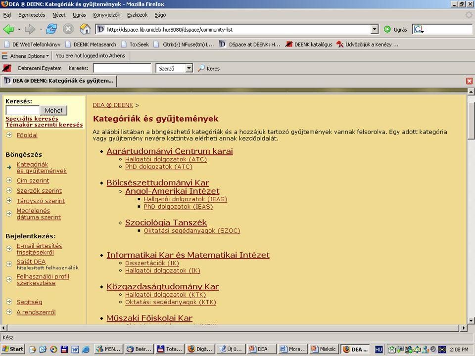 2007. május 22. Debrecen Digitalizálás és elektronikus hozzáférés 27