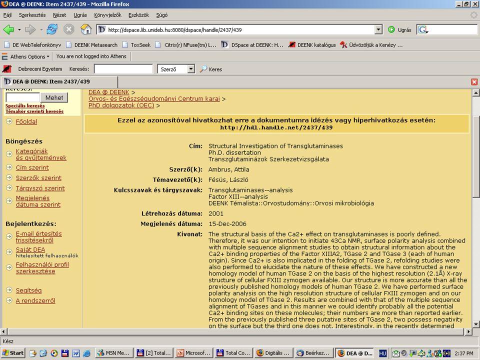2007. május 22. Debrecen Digitalizálás és elektronikus hozzáférés 31