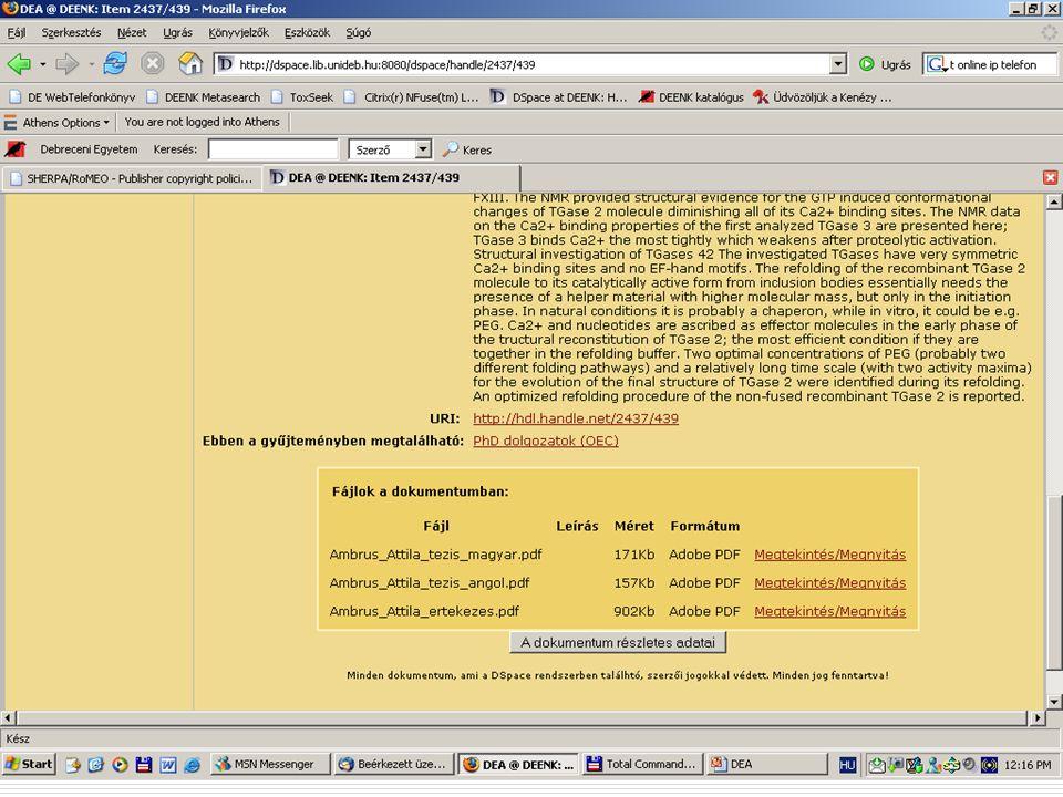 2007. május 22. Debrecen Digitalizálás és elektronikus hozzáférés 32
