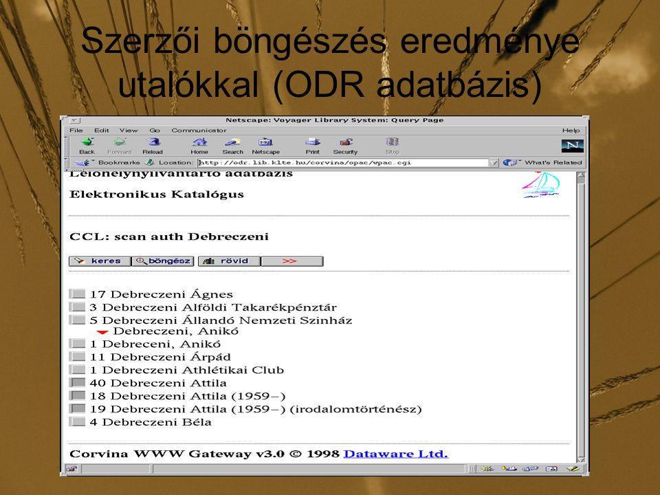Szerzői böngészés eredménye utalókkal (ODR adatbázis)
