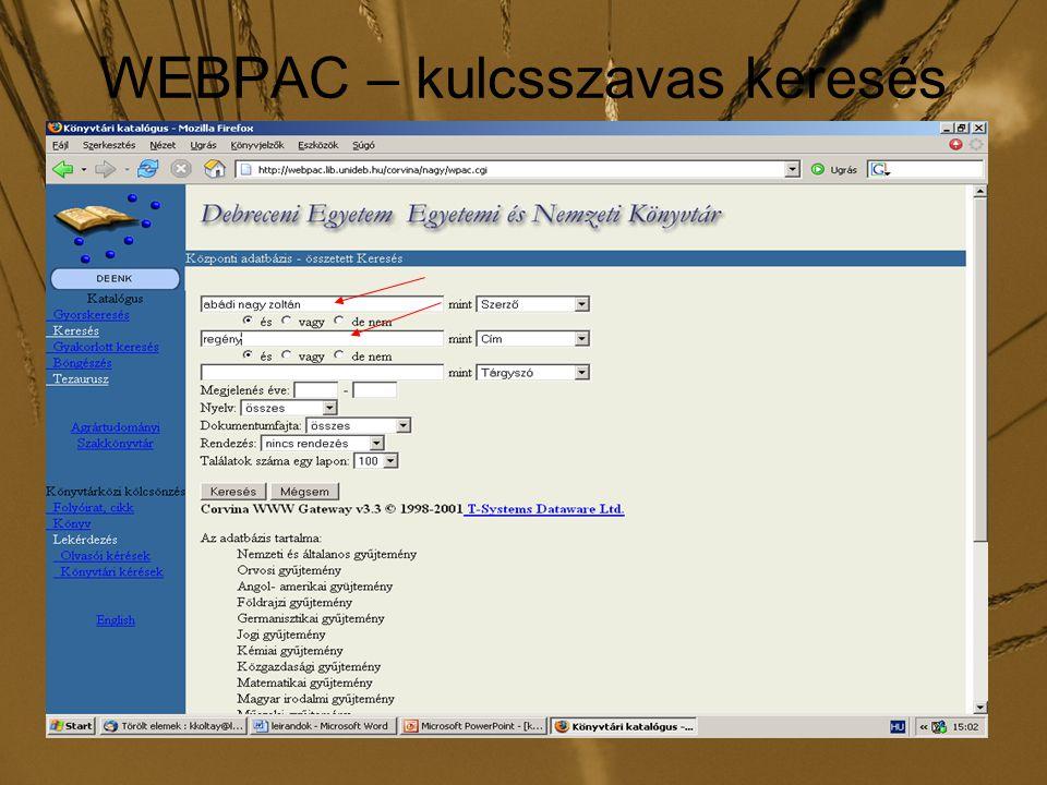 WEBPAC – kulcsszavas keresés