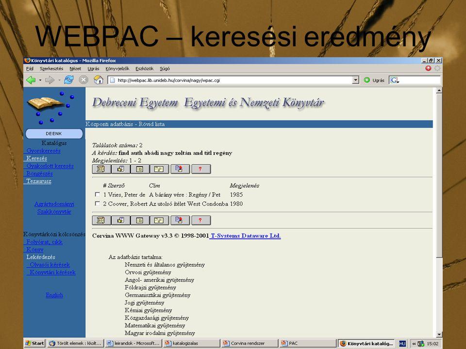 WEBPAC – keresési eredmény