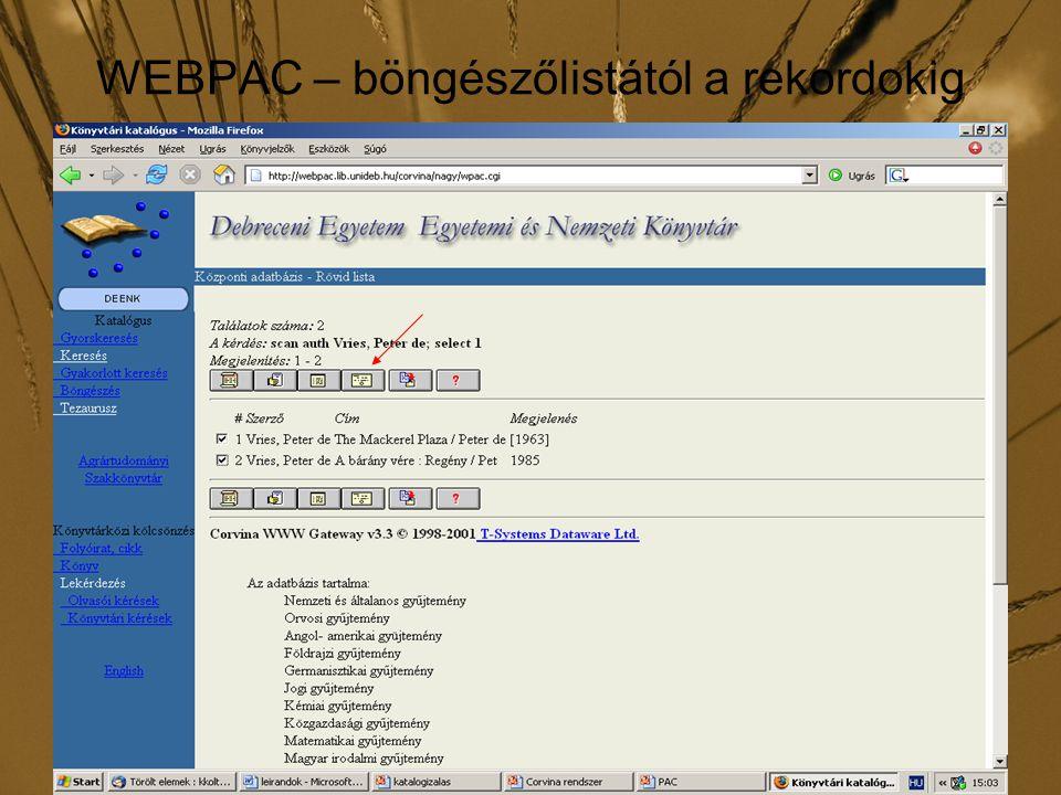 WEBPAC – böngészőlistától a rekordokig
