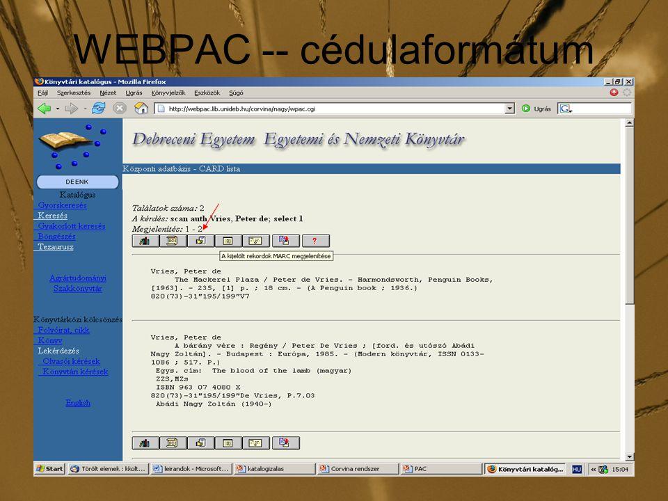 WEBPAC -- cédulaformátum