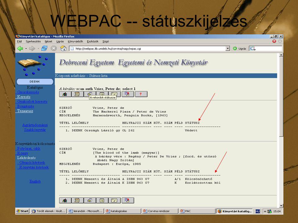 WEBPAC -- státuszkijelzés