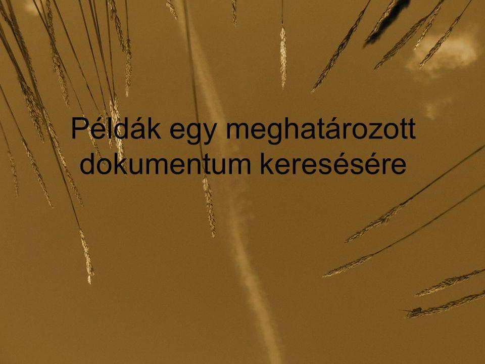 Példák: több szempontú keresés Az olvasó csak annyit tud, hogy egy 1969- ben Budapesten tartott konferenciáról van szó, és a témájáról csak annyi bizonyos, hogy fizika.