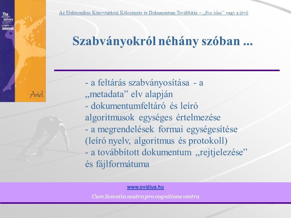 """12 www.ovidius.hu Cum Scientia nostra pro cognitione vestra Az Elektronikus Könyvtárközi Kölcsönzés és Dokumentum Továbbítás – """"fixa idea vagy a jövő Szabványokról néhány szóban..."""
