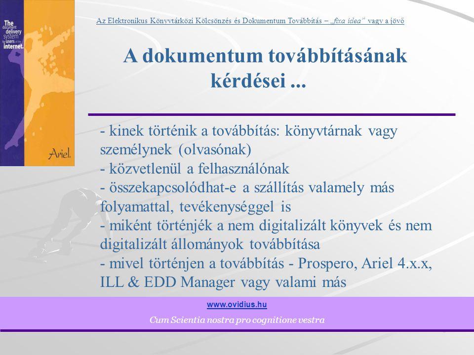 """6 www.ovidius.hu Cum Scientia nostra pro cognitione vestra Az Elektronikus Könyvtárközi Kölcsönzés és Dokumentum Továbbítás – """"fixa idea vagy a jövő A dokumentum továbbításának kérdései..."""