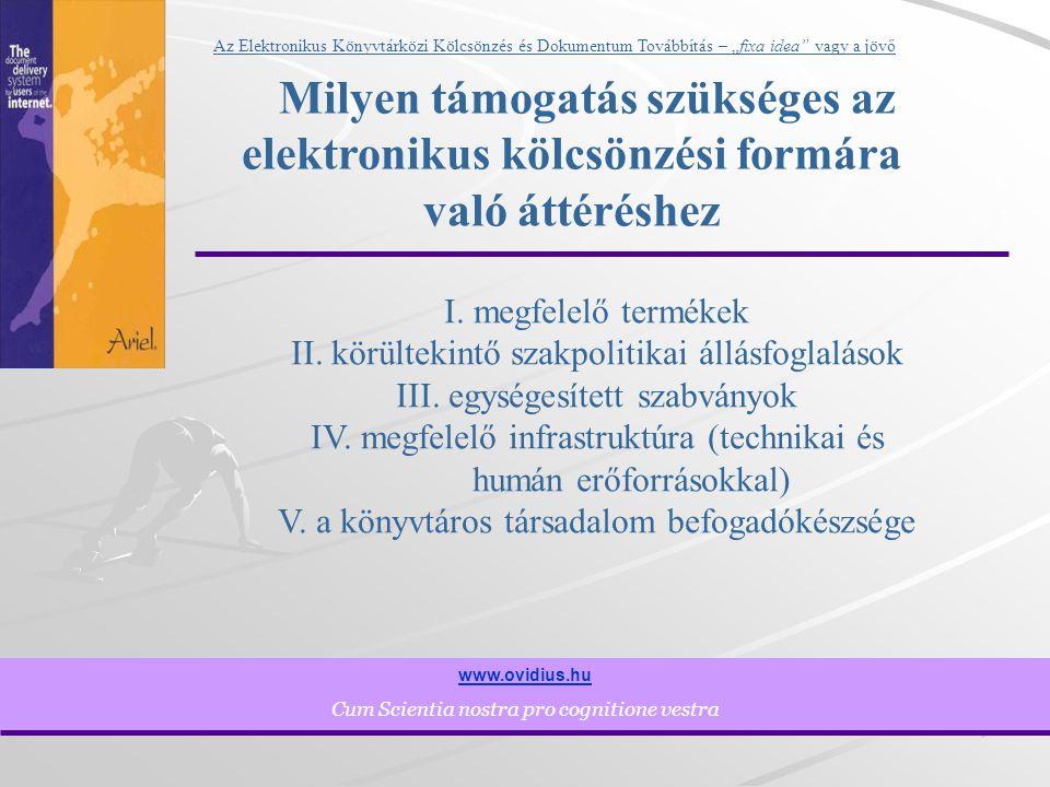 """9 www.ovidius.hu Cum Scientia nostra pro cognitione vestra Az Elektronikus Könyvtárközi Kölcsönzés és Dokumentum Továbbítás – """"fixa idea vagy a jövő Milyen támogatás szükséges az elektronikus kölcsönzési formára való áttéréshez I."""