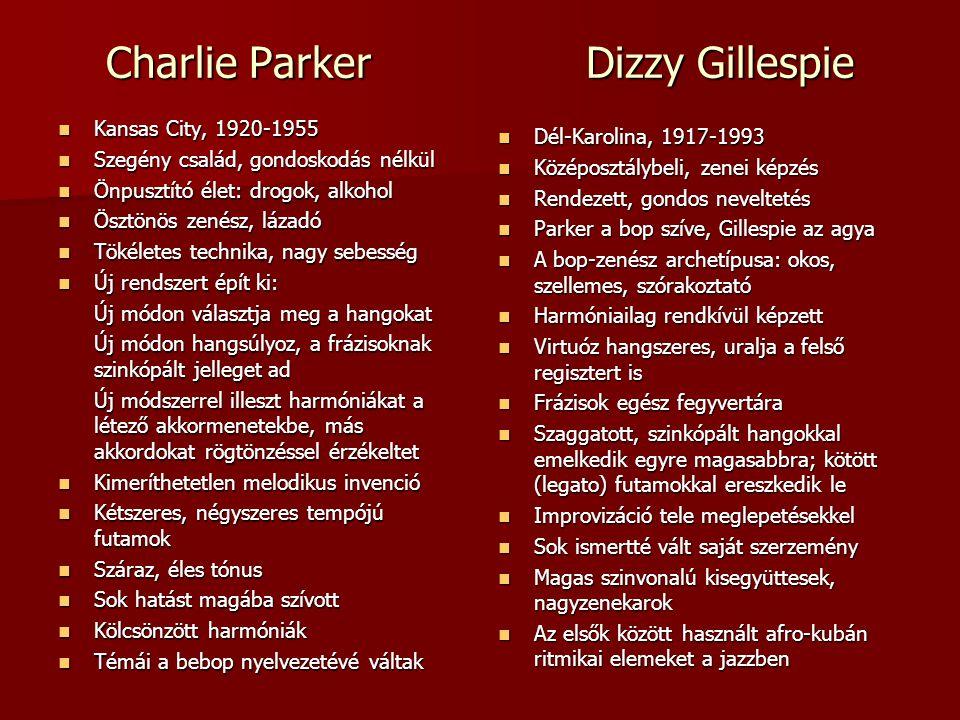 Charlie ParkerDizzy Gillespie Kansas City, 1920-1955 Kansas City, 1920-1955 Szegény család, gondoskodás nélkül Szegény család, gondoskodás nélkül Önpu