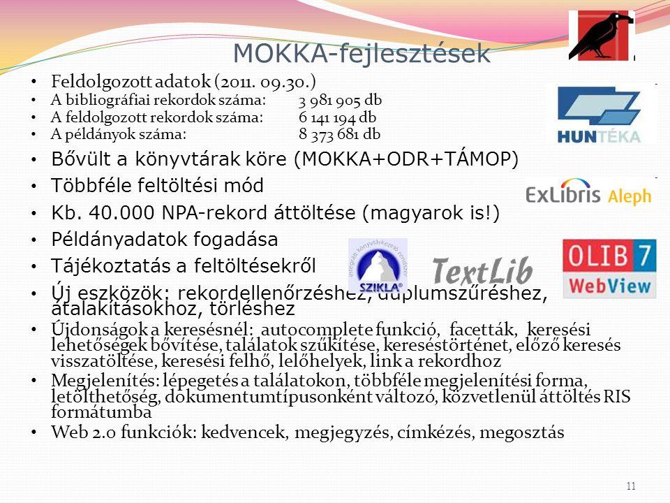 MOKKA-fejlesztések Feldolgozott adatok (2011.