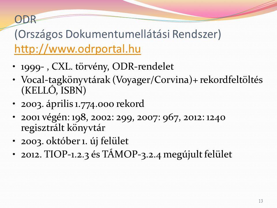 ODR (Országos Dokumentumellátási Rendszer) http://www.odrportal.hu http://www.odrportal.hu 1999-, CXL.