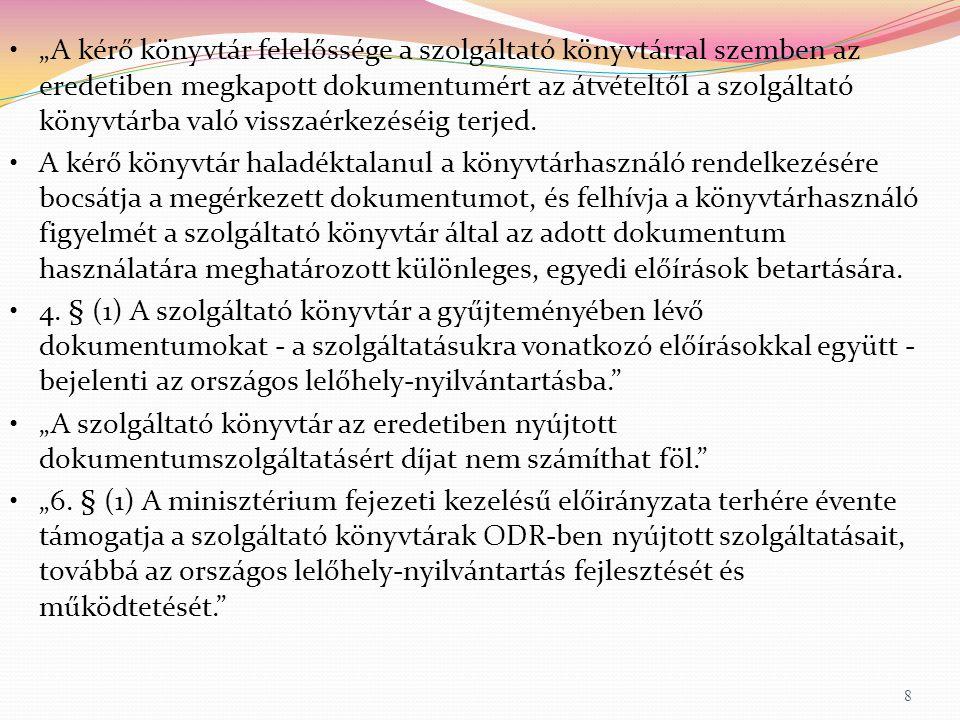 Az ODR struktúrája 2012- ODR-kereső 19 Kérésadminisztráció Könyvtárnyilvántartó MOKKA bibliográfiai adatbázis+példánytár Online, batch betöltések, OAI Helyi kölcsönzés E-mail Webes felület Cikkarchívum, WorldCat, repozitóriumok, NDA, + jövőben pl.