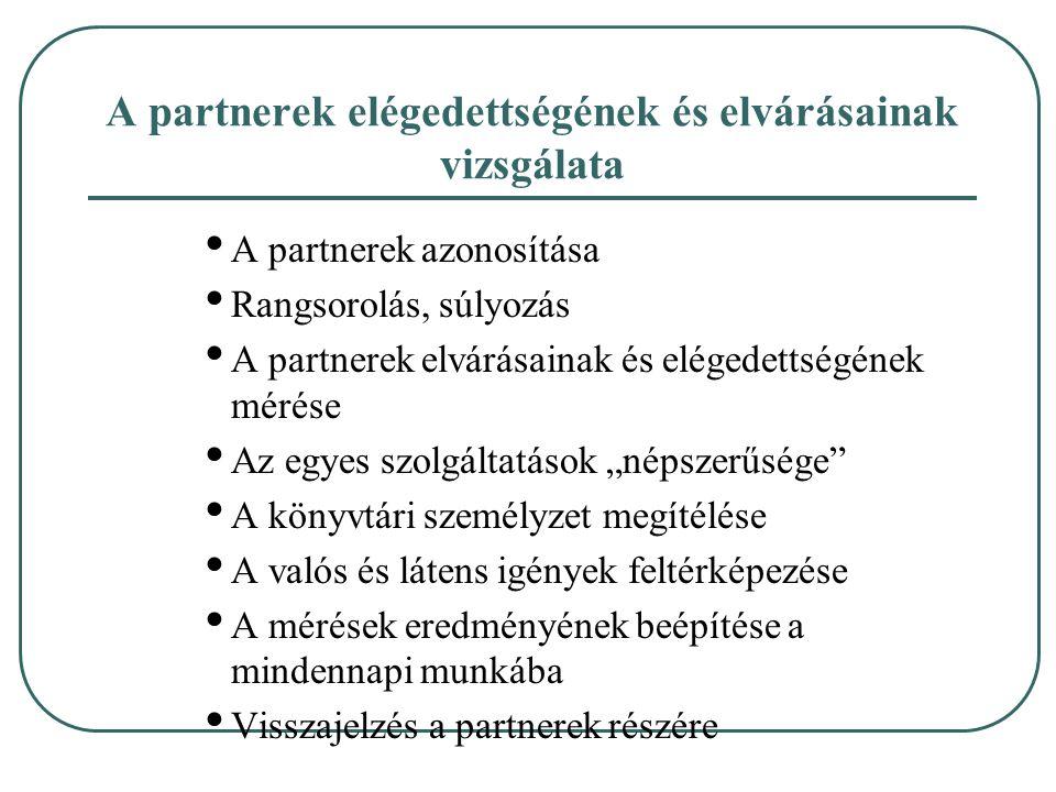 A partnerek elégedettségének és elvárásainak vizsgálata A partnerek azonosítása Rangsorolás, súlyozás A partnerek elvárásainak és elégedettségének mér