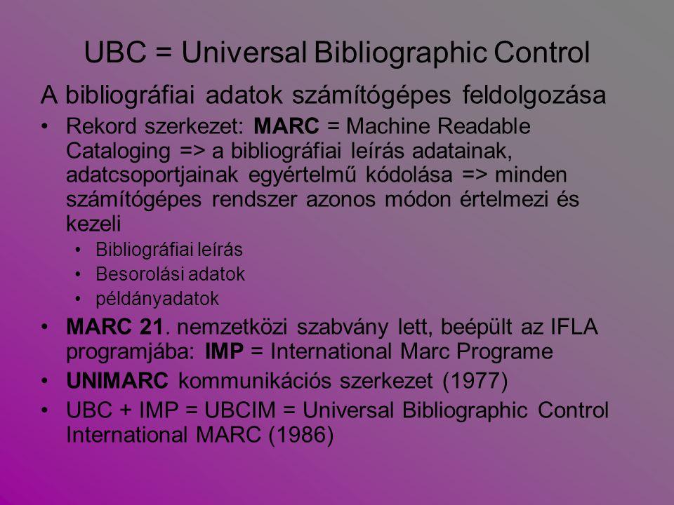 UBC = Universal Bibliographic Control A bibliográfiai adatok számítógépes feldolgozása Rekord szerkezet: MARC = Machine Readable Cataloging => a bibli