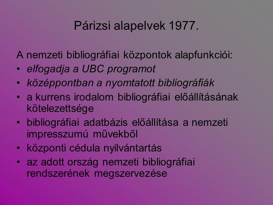 Párizsi alapelvek 1977. A nemzeti bibliográfiai központok alapfunkciói: elfogadja a UBC programot középpontban a nyomtatott bibliográfiák a kurrens ir