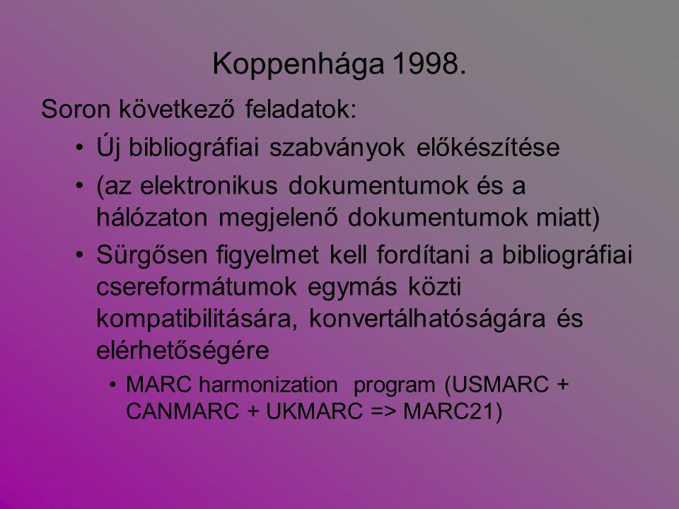 Koppenhága 1998. Soron következő feladatok: Új bibliográfiai szabványok előkészítése (az elektronikus dokumentumok és a hálózaton megjelenő dokumentum