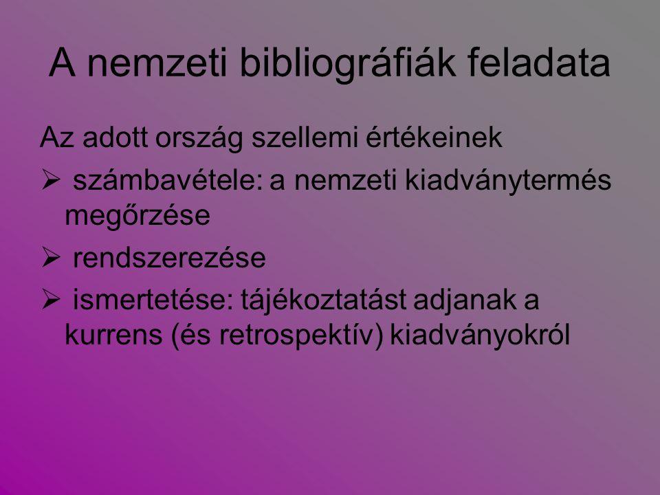 A nemzeti bibliográfiák gyűjtőköre  az egy országban megjelenteket (területi szempont)  az egy nyelven megjelenteket (nyelvi szempont)  az egy nemzethez tartozó személyek bármely nyelven és bárhol megjelent műveit (személyi szempont)  az egy országra, népre vonatkozó, de az ország határain kívül megjelent nyomtatványokat regisztrálja (etnikai szempont)