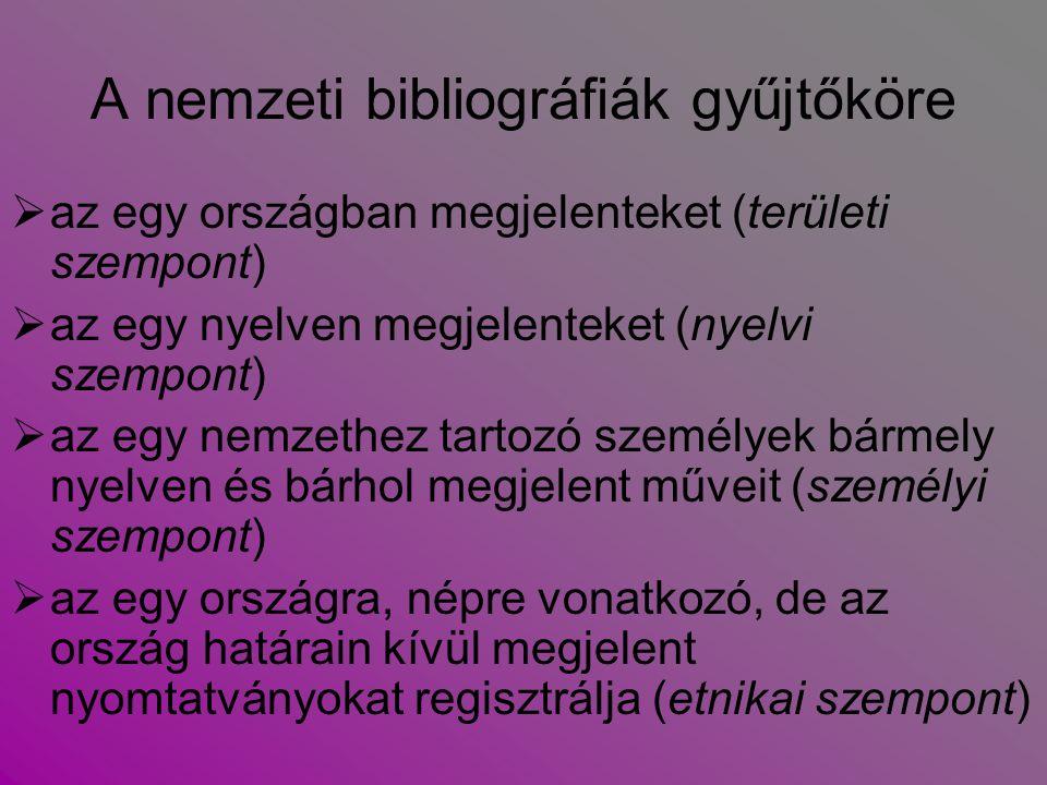 A nemzeti bibliográfiák gyűjtőköre  az egy országban megjelenteket (területi szempont)  az egy nyelven megjelenteket (nyelvi szempont)  az egy nemz
