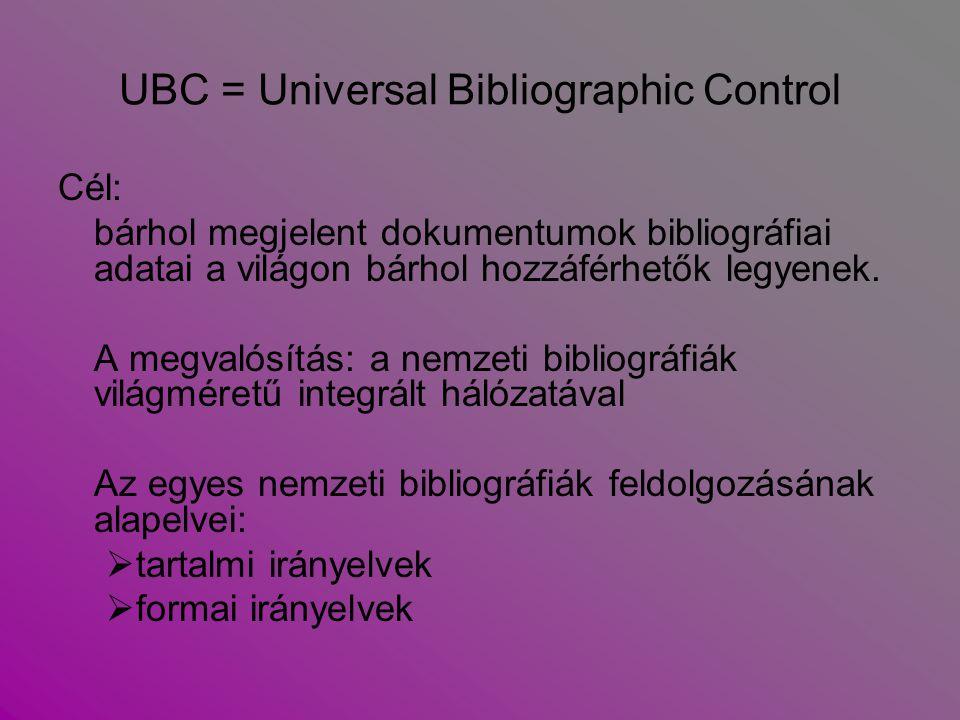 UBC = Universal Bibliographic Control Cél: bárhol megjelent dokumentumok bibliográfiai adatai a világon bárhol hozzáférhetők legyenek. A megvalósítás: