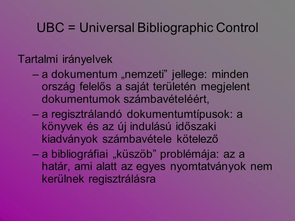 UBC = Universal Bibliographic Control Formai irányelvek  A bibliográfiai leírások egységesítése: ISBD = International Standard Bibliographic Description) Követelmény:  Az irodalom, az egyes művek leírásának mindig autopszián kell alapulniuk (a dokumentumok egyértelműen azonosíthatók legyenek)  minden adatra ki kell terjedniük (az adatoknak megbízhatóaknak kell lenniük, pontosság és hitelesség!)  Az azonosítás megkönnyítését szolgálja az  ISBN = International Standard Book Numbering  ISSN = International Standard Serial Numbering