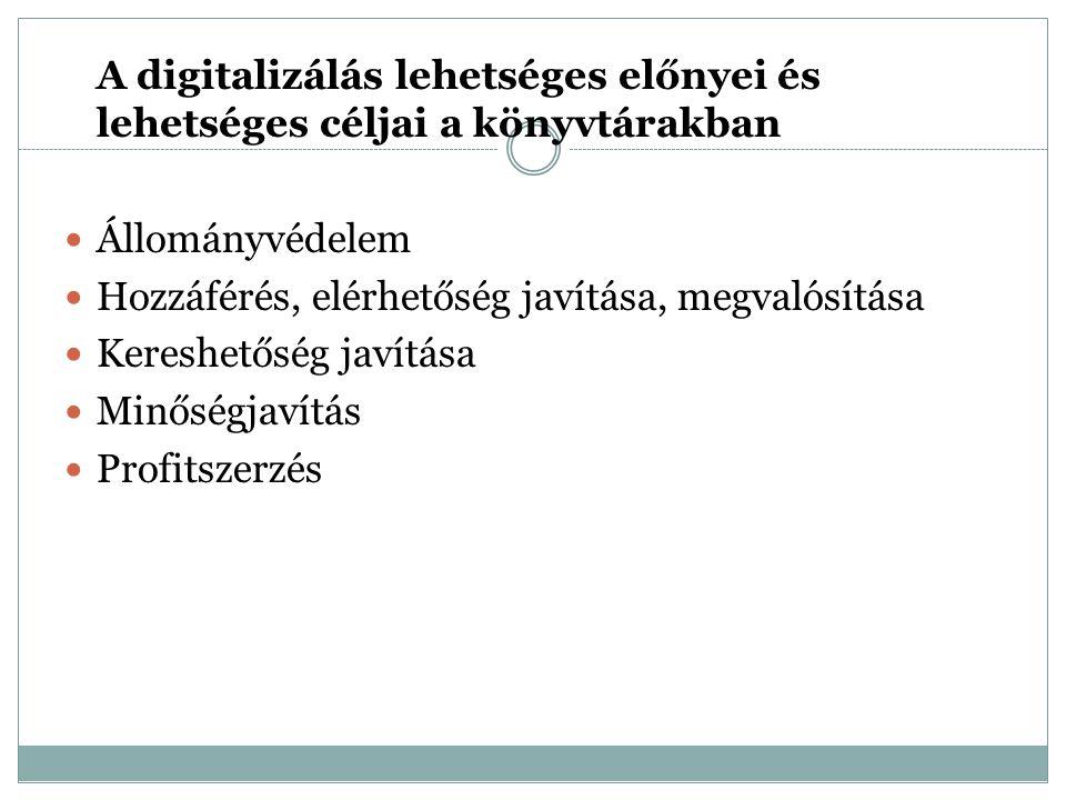 A digitalizálási projektek fázisai Projekt megtervezése Digitalizálandó anyagok kiválasztása Digitalizálás előkészítése Forrásdokumentumok kezelése Digitalizálási folyamat Digitalizálás során keletkezett anyag megóvása Metaadatok Online publikáció (digitális könyvtár létrehozása, digitális dokumentumok online szolgáltatása) Szerzői jogok Digitalizálási projektek irányítása (MINERVA, Sikeres digitalizálás lépésről lépésre)