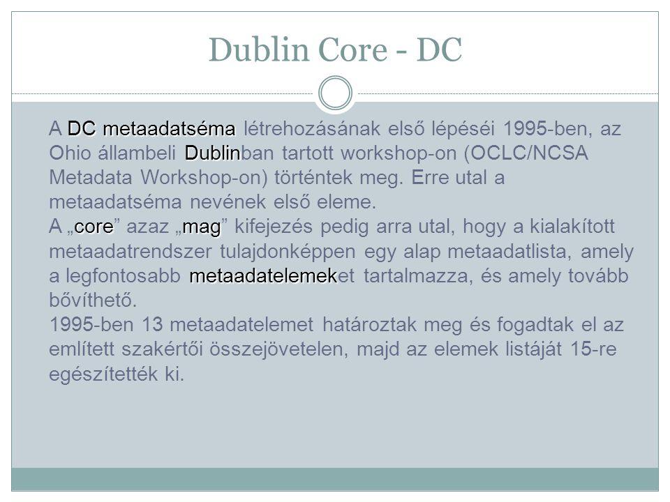 Dublin Core - DC DC metaadatséma Dublin coremag metaadatelemek A DC metaadatséma létrehozásának első lépéséi 1995-ben, az Ohio állambeli Dublinban tartott workshop-on (OCLC/NCSA Metadata Workshop-on) történtek meg.