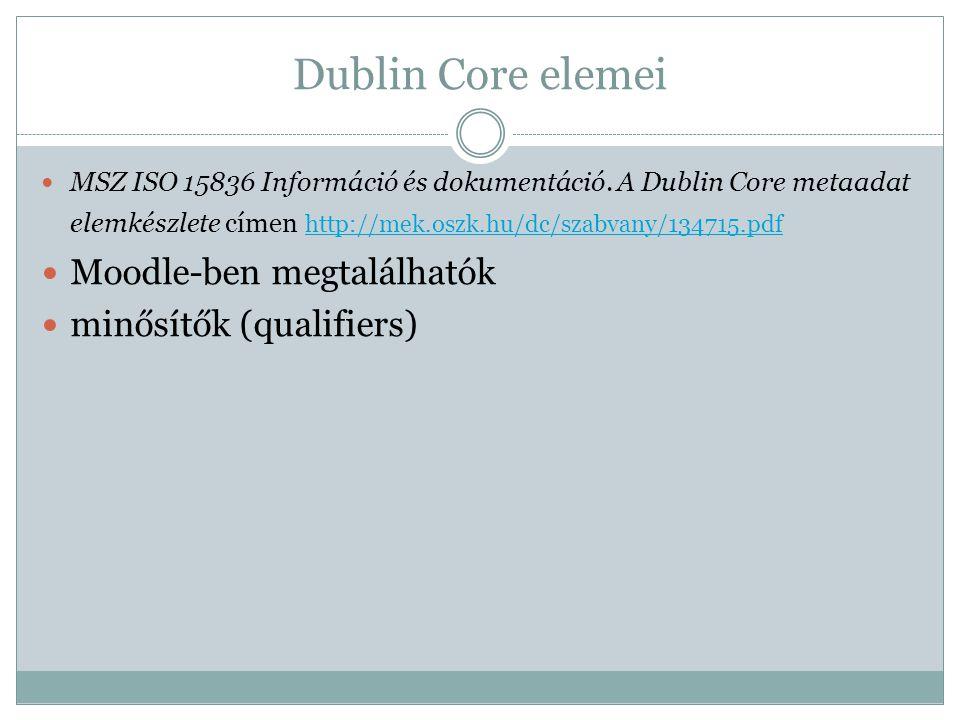 Dublin Core elemei MSZ ISO 15836 Információ és dokumentáció.