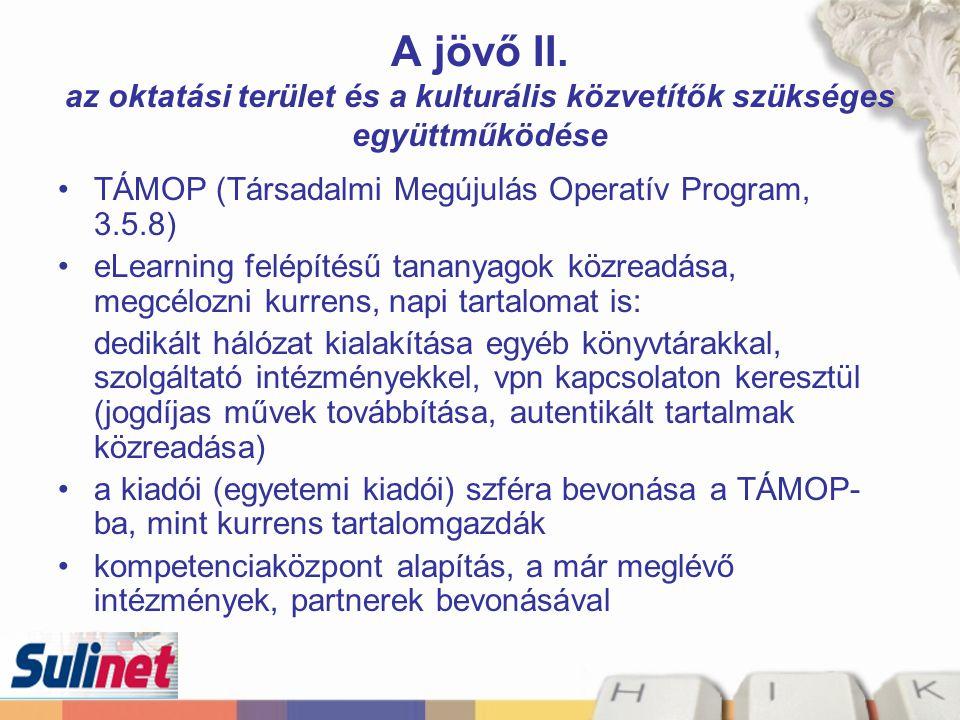 A jövő II. az oktatási terület és a kulturális közvetítők szükséges együttműködése TÁMOP (Társadalmi Megújulás Operatív Program, 3.5.8) eLearning felé