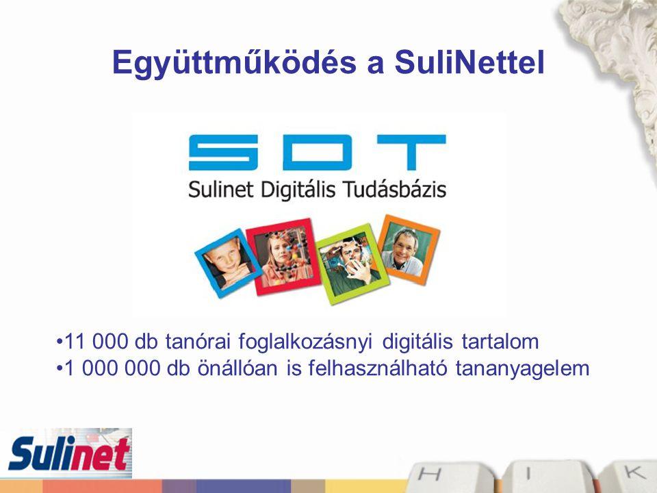 Együttműködés a SuliNettel 11 000 db tanórai foglalkozásnyi digitális tartalom 1 000 000 db önállóan is felhasználható tananyagelem