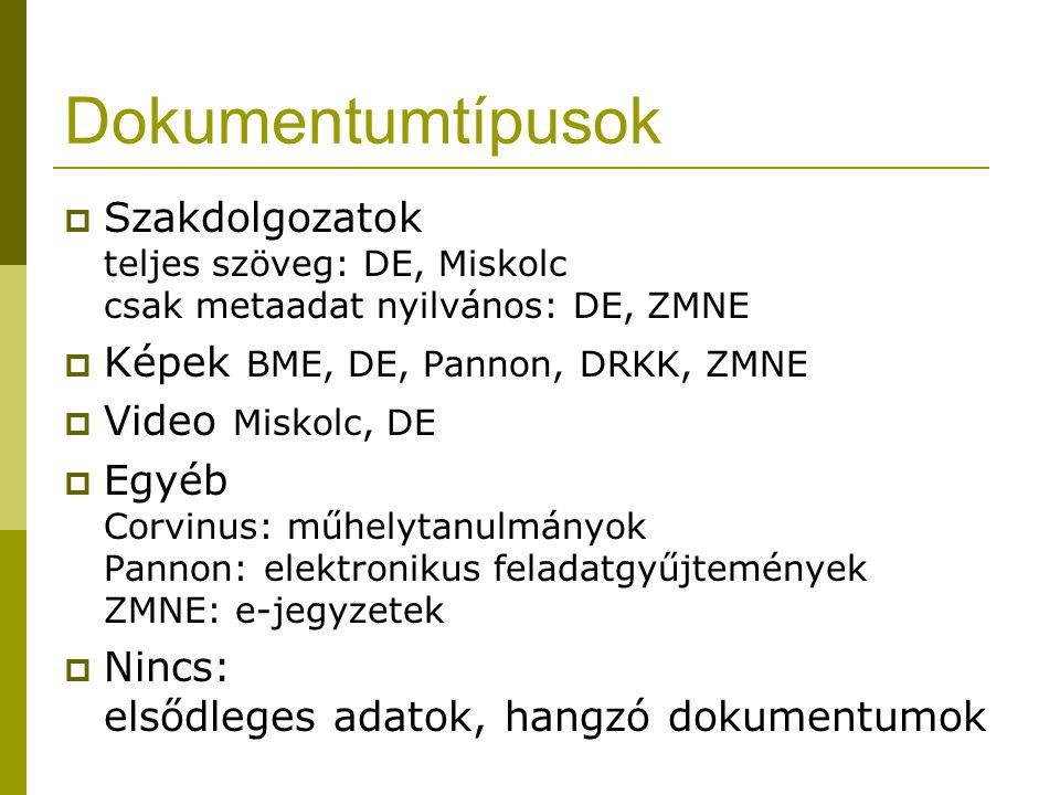 Dokumentumtípusok  Szakdolgozatok teljes szöveg: DE, Miskolc csak metaadat nyilvános: DE, ZMNE  Képek BME, DE, Pannon, DRKK, ZMNE  Video Miskolc, D
