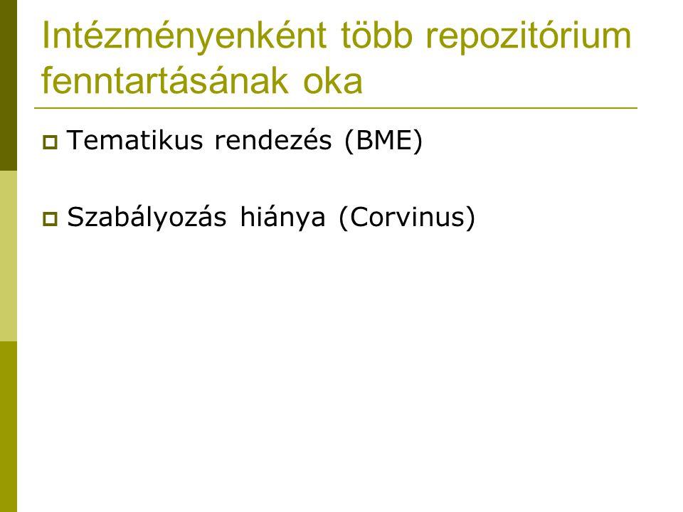 Intézményenként több repozitórium fenntartásának oka  Tematikus rendezés (BME)  Szabályozás hiánya (Corvinus)