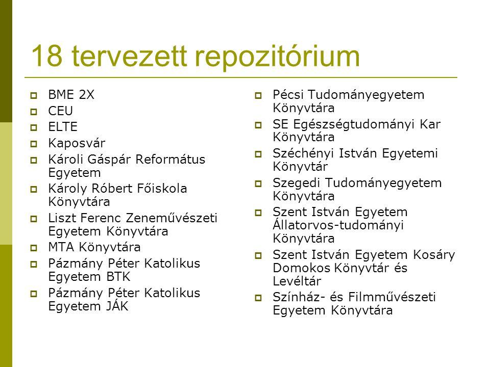 18 tervezett repozitórium  BME 2X  CEU  ELTE  Kaposvár  Károli Gáspár Református Egyetem  Károly Róbert Főiskola Könyvtára  Liszt Ferenc Zenemű