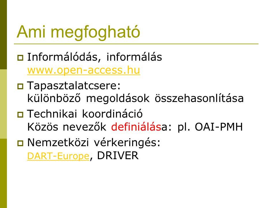 Ami megfogható  Informálódás, informálás www.open-access.hu www.open-access.hu  Tapasztalatcsere: különböző megoldások összehasonlítása  Technikai