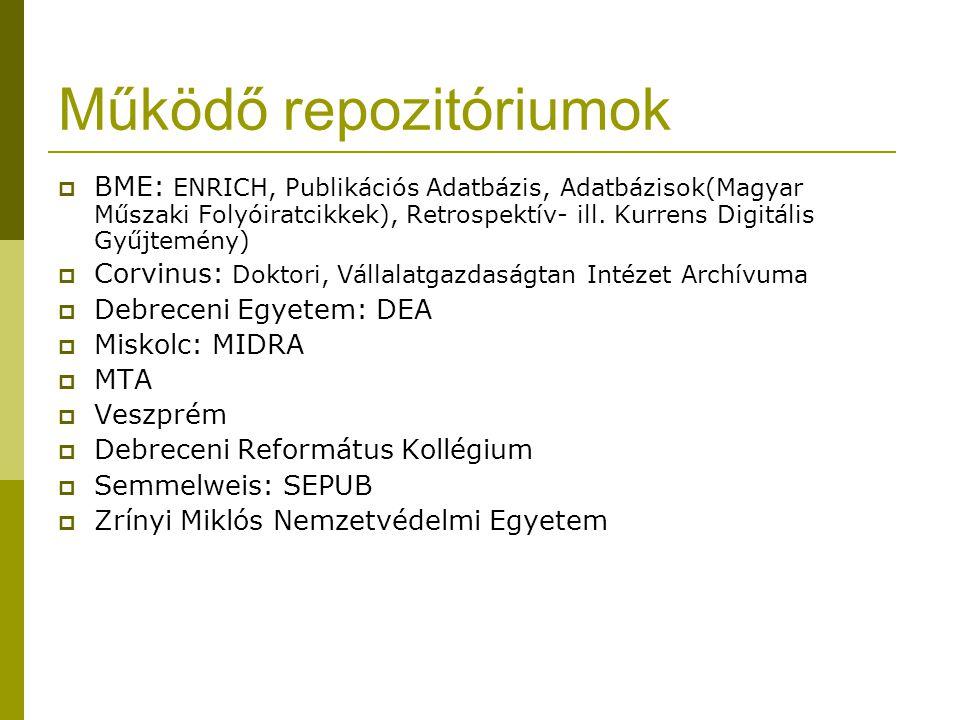 Működő repozitóriumok  BME: ENRICH, Publikációs Adatbázis, Adatbázisok(Magyar Műszaki Folyóiratcikkek), Retrospektív- ill. Kurrens Digitális Gyűjtemé