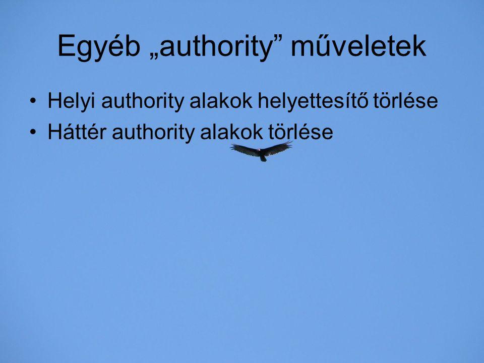 """Egyéb """"authority"""" műveletek Helyi authority alakok helyettesítő törlése Háttér authority alakok törlése"""