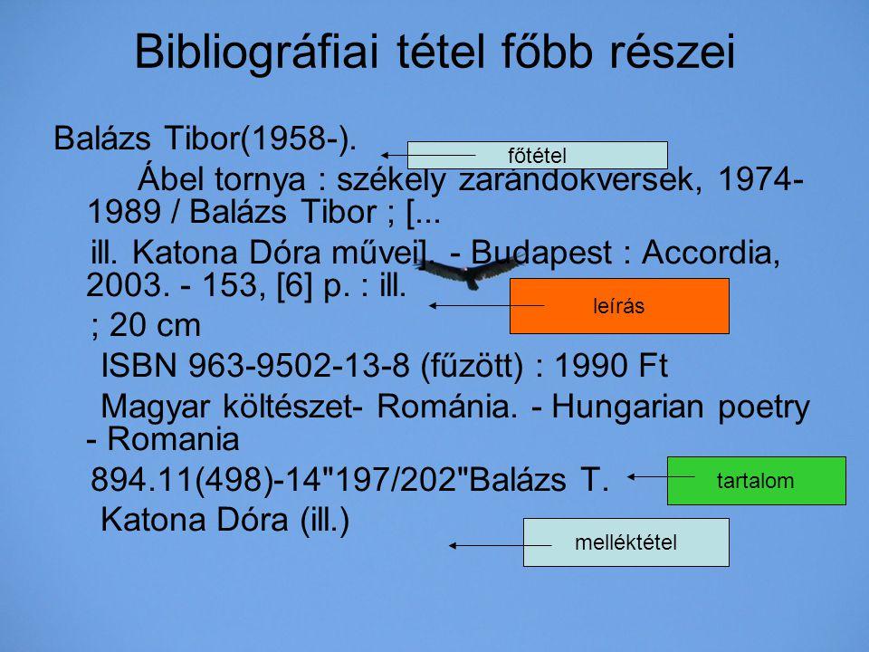 Bibliográfiai tétel főbb részei Balázs Tibor(1958-). Ábel tornya : székely zarándokversek, 1974- 1989 / Balázs Tibor ; [... ill. Katona Dóra művei]. -