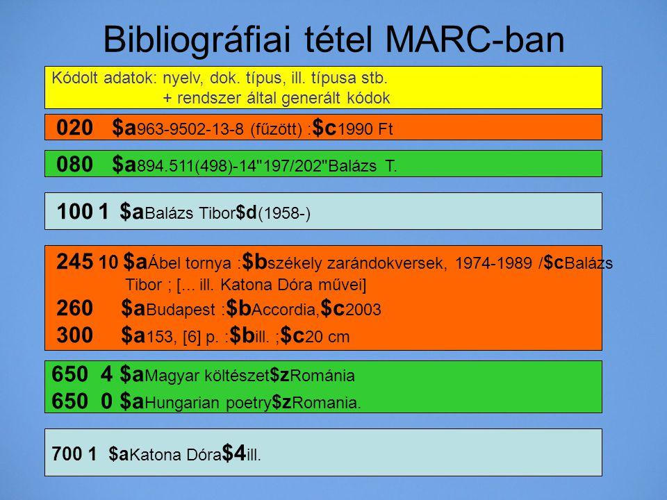 Bibliográfiai tétel MARC-ban 100 1 $a Balázs Tibor $d (1958-) 245 10 $a Ábel tornya : $b székely zarándokversek, 1974-1989 / $c Balázs Tibor ; [... il