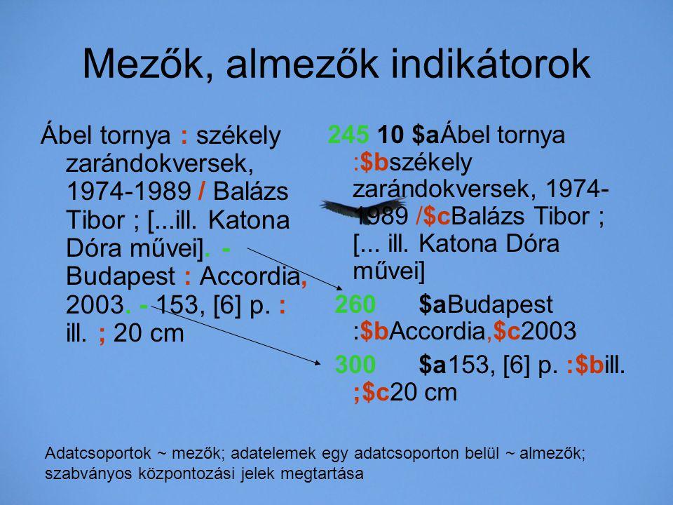Mezők, almezők indikátorok Ábel tornya : székely zarándokversek, 1974-1989 / Balázs Tibor ; [...ill. Katona Dóra művei]. - Budapest : Accordia, 2003.