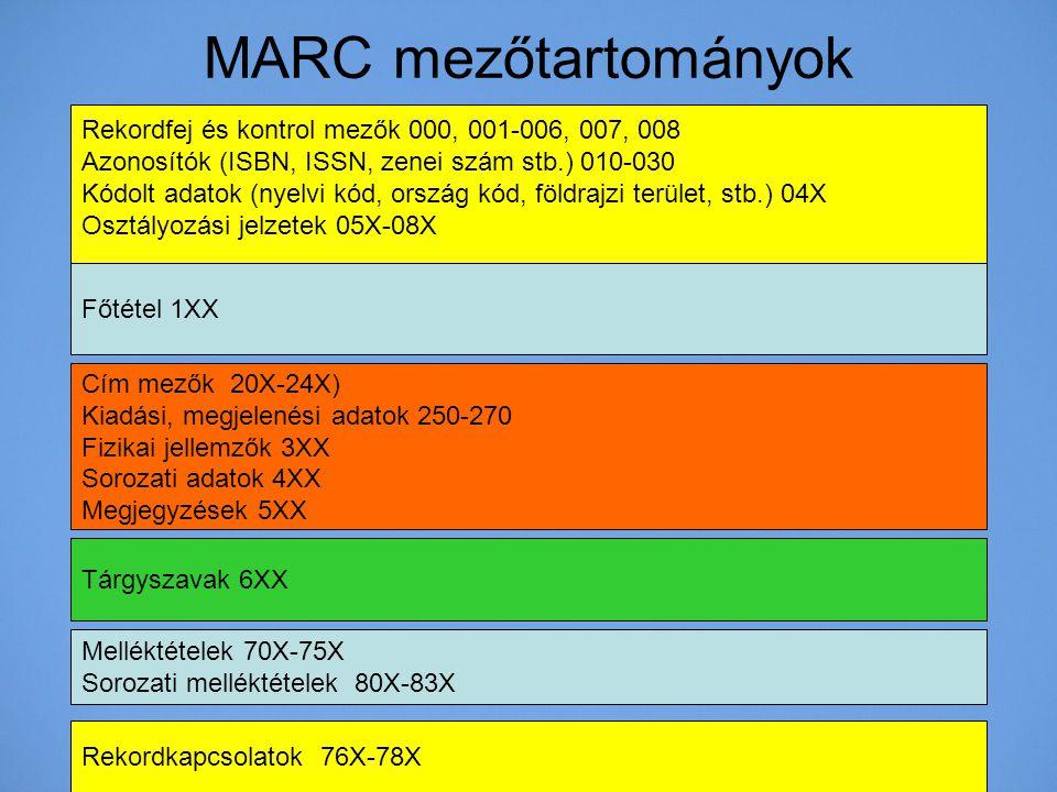 MARC mezőtartományok Rekordfej és kontrol mezők 000, 001-006, 007, 008 Azonosítók (ISBN, ISSN, zenei szám stb.) 010-030 Kódolt adatok (nyelvi kód, ors