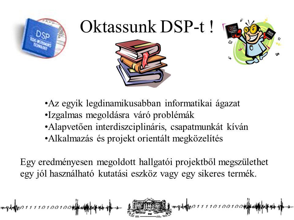 Oktassunk DSP-t ! Az egyik legdinamikusabban informatikai ágazat Izgalmas megoldásra váró problémák Alapvetően interdiszciplináris, csapatmunkát kíván