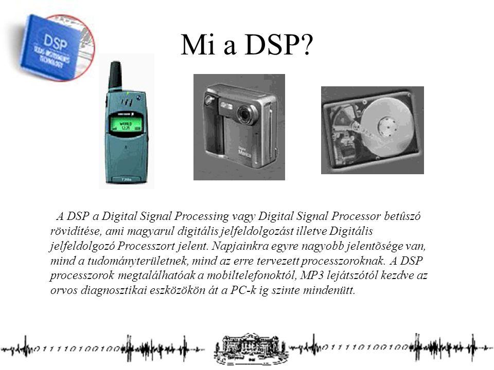 Mi a DSP? A DSP a Digital Signal Processing vagy Digital Signal Processor betûszó rövidítése, ami magyarul digitális jelfeldolgozást illetve Digitális