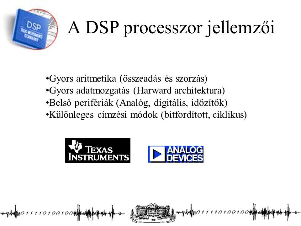 A DSP processzor jellemzői Gyors aritmetika (összeadás és szorzás) Gyors adatmozgatás (Harward architektura) Belső perifériák (Analóg, digitális, időzítők) Különleges címzési módok (bitfordított, ciklikus)