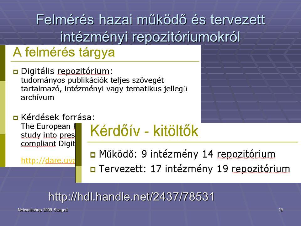 Networkshop 2009 Szeged19 Felmérés hazai működő és tervezett intézményi repozitóriumokról http://hdl.handle.net/2437/78531